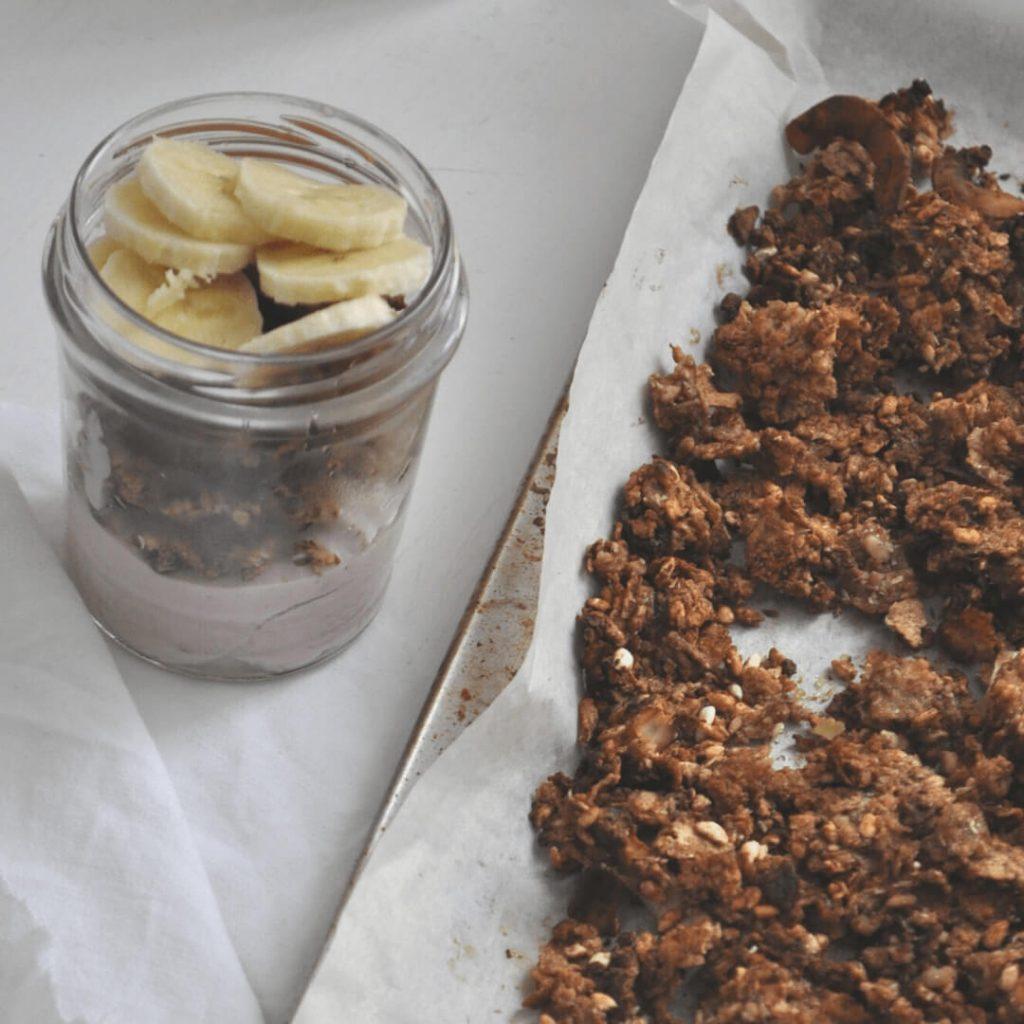 granola handmade vegana cioccolato cocco e banana